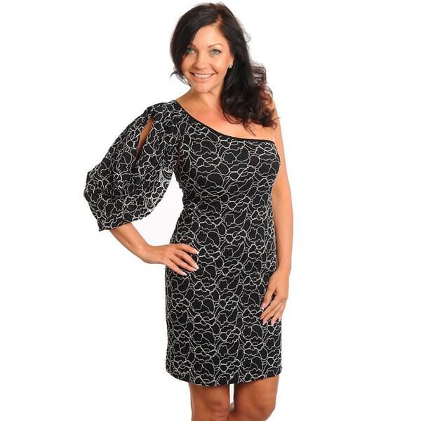 b3edc9425998d Shop Stanzino Women s Plus Black Floral Cold-shoulder Dress - Free ...