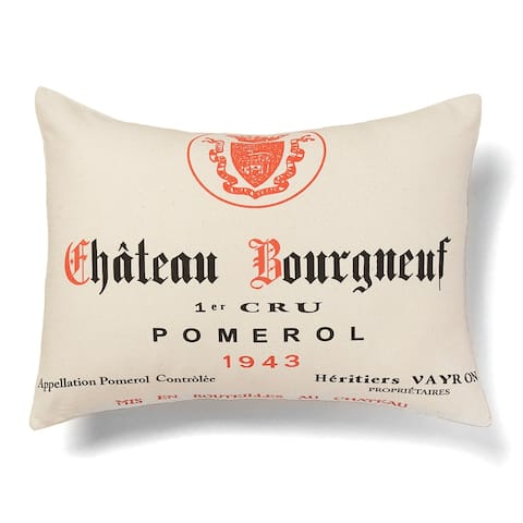 'Chateau Bourgneuf' Wine Print Decorative Pillow
