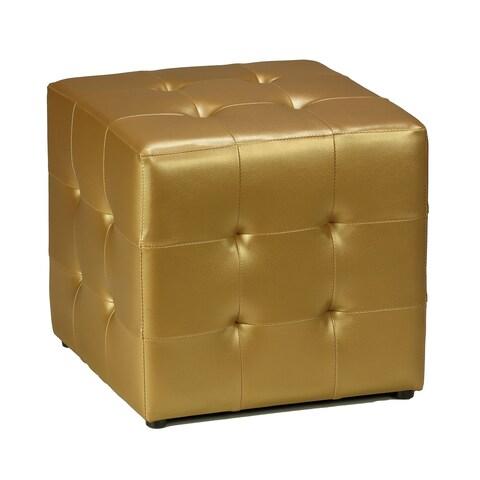 Porch & Den Logan Square Lawndale Gold Vinyl Tufted Cube Ottoman