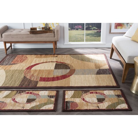 Alise Rugs Rhythm Contemporary Geometric Three Piece Set - multi - 5' x 7'