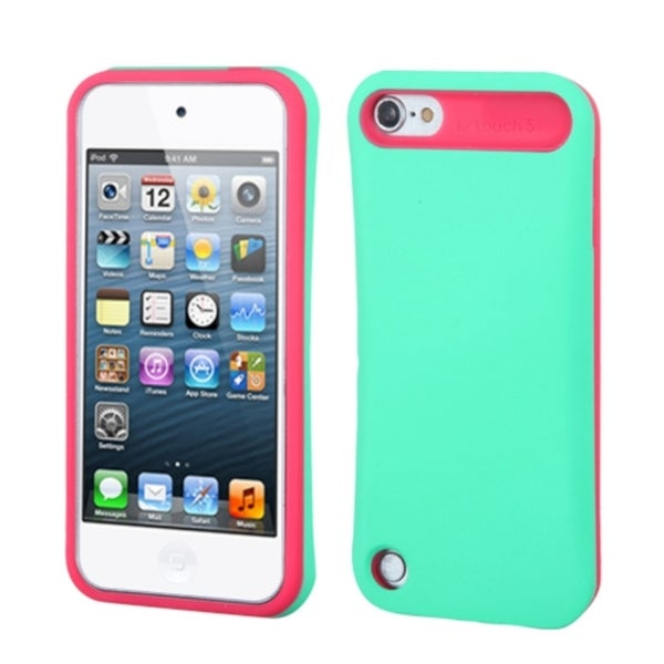 Insten Turquoise/ Hot Pink Hard PC/ Silicone Glossy Case Cover with Card Slot For Apple iPod Touch 5th/ 6th Gen