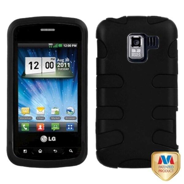 INSTEN Rubberized Black/ Black Fishbone Phone Case Cover for LG VS700 Enlighten