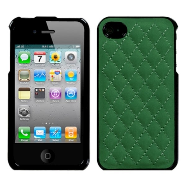 INSTEN Quilted Forest Green Executive Phone Case Cover for Apple iPhone 4/ 4S