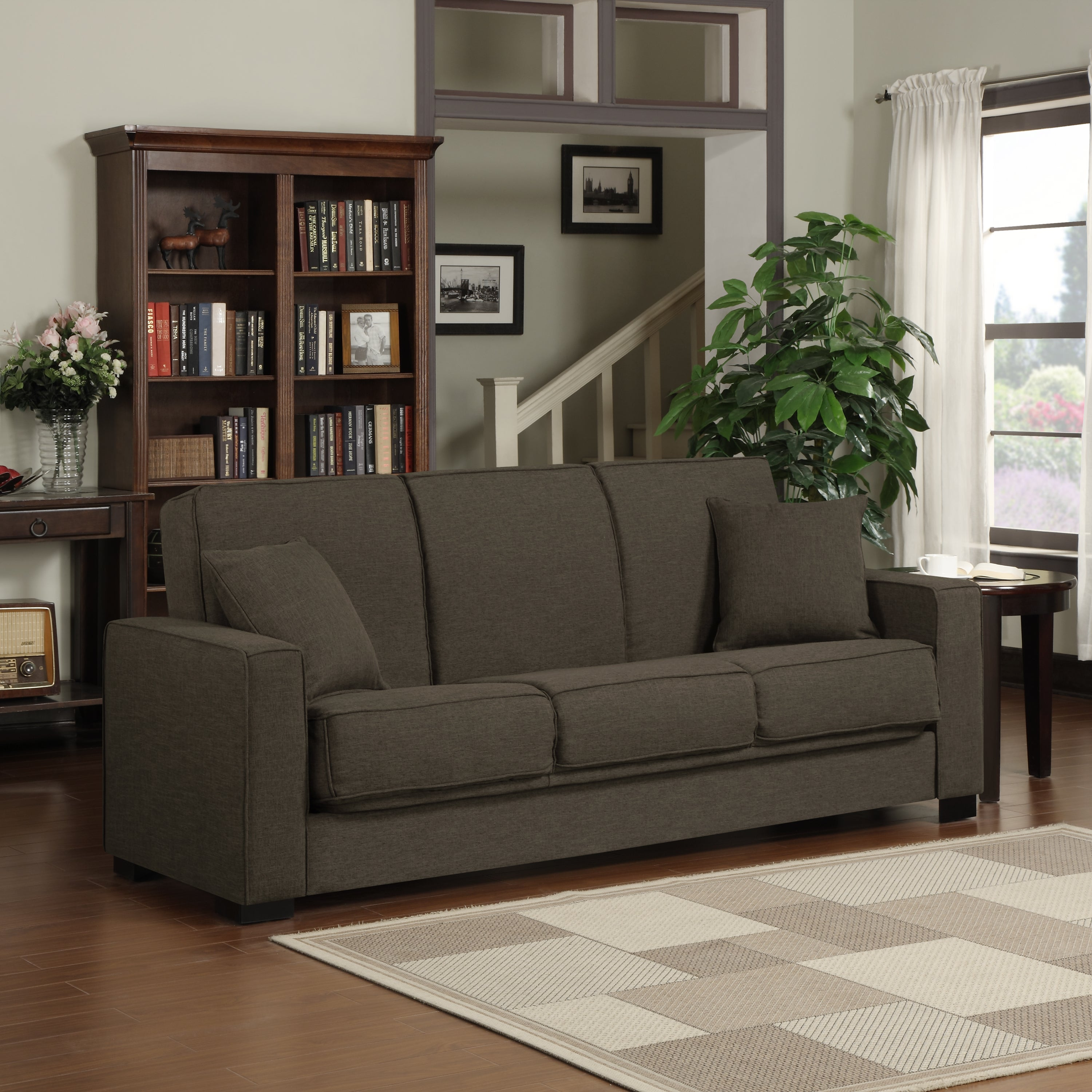 Handy Living Mali Convert-a-Couch® Chocolate Brown Linen ...