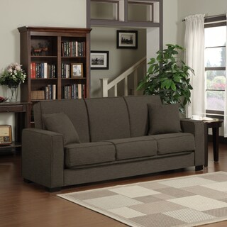 Handy Living Mali Convert-a-Couch® Chocolate Brown Linen Futon Sofa Sleeper