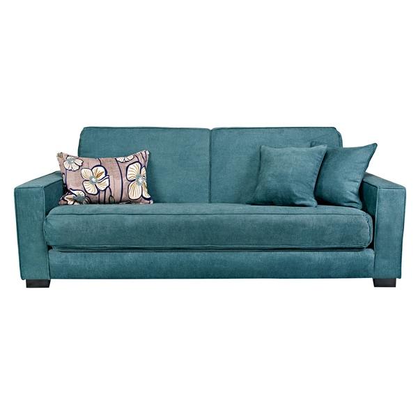 Teal Blue Furniture: Handy Living Grayson Parisian Teal Blue Convert-a-Couch