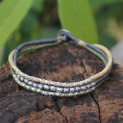 Handcrafted Silver 'Thai Forest Flowers' Bracelet (Thailand)