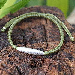 Handcrafted Silver 'Peaceful Jungle' Braided Bracelet (Thailand)