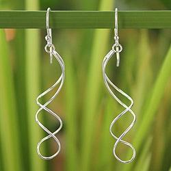 Sterling Silver 'Gentle Sigh' Earrings (Thailand)