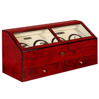 Burl Red Finish 8-watch Winder/ Display Case
