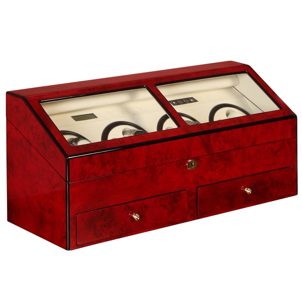 Burl Red Finish 8-watch Winder/ Display Case