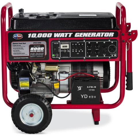 All Power 10,000-Watt Gasoline Powered Electric Start Portable Generator with Mobility Cart
