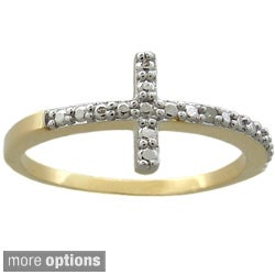 Finesque 18k Gold or Silver Overlay Diamond Accent Sideways Cross Ring (2 options available)