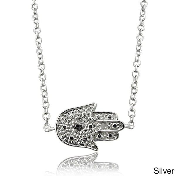 Finesque Diamond Accent Hamsa Necklace