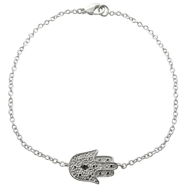Finesque Silverplated Diamond Accent Hamsa Bracelet