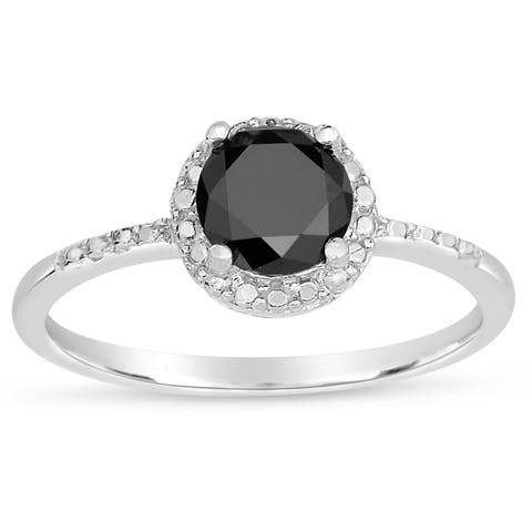Finesque Sterling Silver 1/4 to 1ct TDW Black Diamond Halo Ring