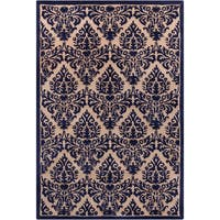 Hand-tufted Allie Floral Blue/ Tan Wool Rug - 5' x 7'6