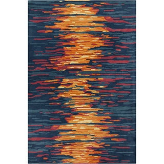Hand-tufted Allie Abstract Blue Wool Rug (5' x 7'6)