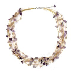 Handmade Amethyst and Pearl 'Afternoon Lilac' Necklace (4 mm) (Thailand)