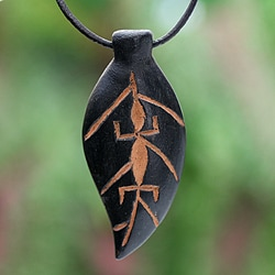 Handcrafted Men's Teakwood Leather 'Flora and Fauna' Necklace (Ghana)