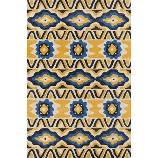 Hand-tufted Allie Abstract Yellow Wool Rug (5' x 7'6)