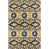 Hand-tufted Allie Abstract Yellow Wool Rug - 5' x 7'6""
