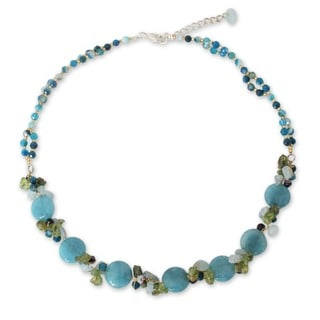 Handcrafted Multi-gemstone 'Light Blue Peonies' Necklace (Thailand)