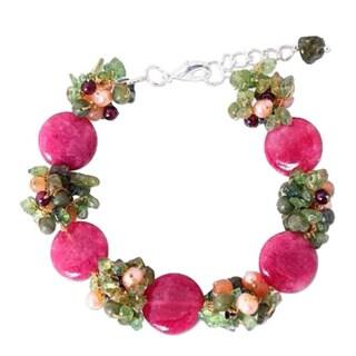 Handmade Multi-gemstone Pearl 'Peony Romance' Bracelet (4 mm) (Thailand)