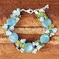 Handcrafted Multi-gemstone 'Peony Romance' Bracelet (Thailand)