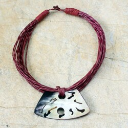 Handcrafted Leather and Horn 'Alamis' Necklace (Ghana)