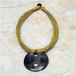 Handmade Leather and Horn 'Talatu Gilga' Necklace (Ghana)