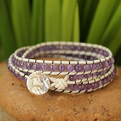 Handmade Leather and Amethyst 'Lilac Tulip' Bracelet (Thailand)