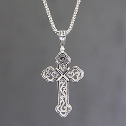 Handcrafted Sterling Silver 'Luminous Faith' Cross Necklace(Indonesia)