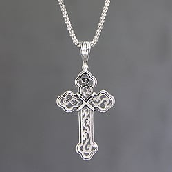 Handcrafted Sterling Silver 'Luminous Faith' Cross Necklace(Indonesia)|https://ak1.ostkcdn.com/images/products/8022221/Handcrafted-Sterling-Silver-Luminous-Faith-Cross-Necklace-Indonesia-P15384686.jpg?impolicy=medium