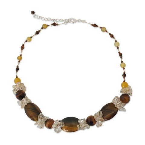 "Handmade Multi-gemstone 'Earth's Harmony' Necklace (Thailand) - 16.5"" L x 0.8"" W"