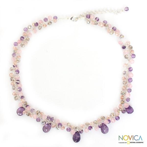 Handmade Amethyst and Quartz 'Lavish Lilac Lanna' Necklace (Thailand)