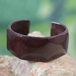 Handcrafted Leather 'Dark Brown Dasba' Cuff Bracelet (Ghana)