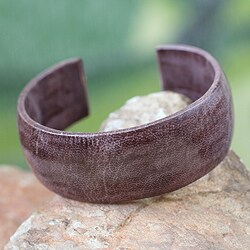 Handcrafted Leather 'Annula In Plum' Cuff Bracelet (Ghana)
