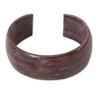 Handmade Leather 'Annula In Plum' Cuff Bracelet (Ghana)