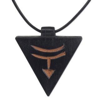 Handmade Men's Teakwood Leather 'Ashanti Soul' Necklace (Ghana)