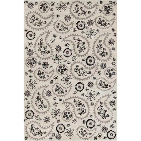 Hand-tufted Allie Floral Cream Wool Rug (5' x 7'6)