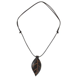 Handmade Men's Teakwood Leather 'Plants Are Life' Necklace (Ghana)