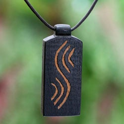 Handcrafted Teakwood and Leather 'Positive Vibes' Necklace (Ghana)