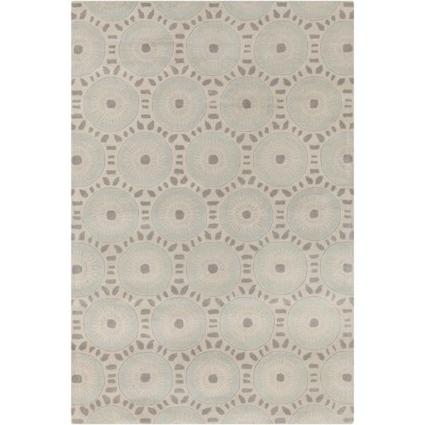 Hand-tufted Allie Geometric Cream/ Grey Wool Rug - 5' x 7'6