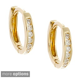 AALILLY 10k Gold Children's 1/10ct TDW Diamond Mini-hoop Earrings