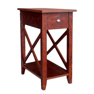 Espresso Wooden X-side End Table