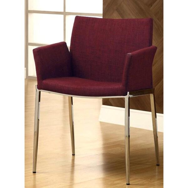 Soho Style Burgundy/ Chrome Arm Chairs (Set of 2)