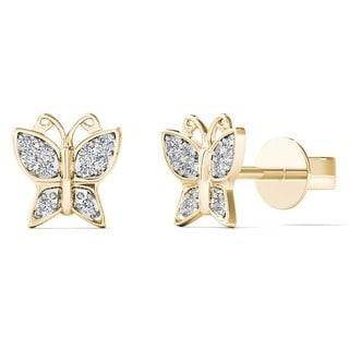10k Gold Children's 3/5ct TDW Diamond Butterfly Stud Earrings (H-I, I2)