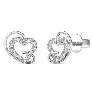 AALILLY 10k White Gold Tiny Diamond Heart Earrings (H-I, I1)