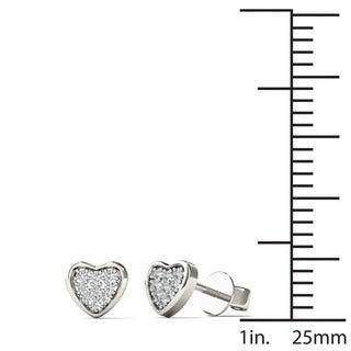 AALILLY 10k Gold Children's 3/5ct TDW Diamond Heart Earrings (H-I, I2)